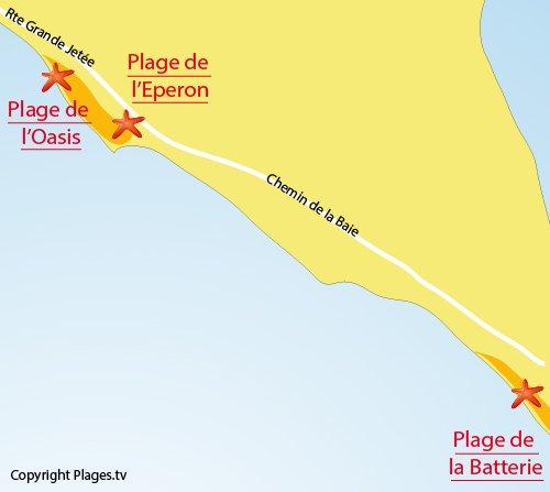 Carte de la plage de l'Oasis à l'Aiguillon sur Mer