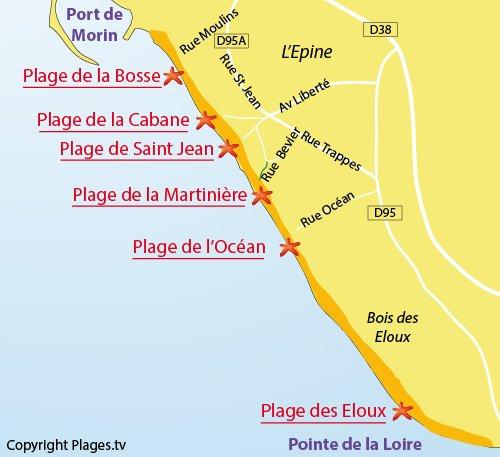Plan de la plage de l'Océan à Noirmoutier