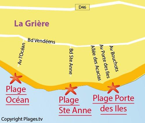 Carte de la plage de l'Océan à La Tranche sur Mer