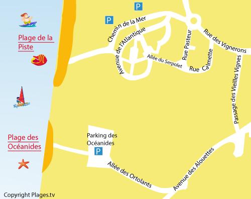 Carte de la plage des Océanides à Capbreton