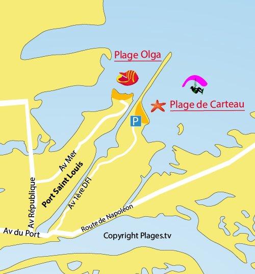 Plan de la plage Olga à Port St Louis