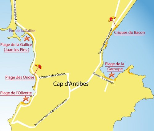 Map of Olivette Beach in Cap d'Antibes