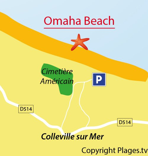 Map of Omaha Beach in Normandy - Colleville sur Mer