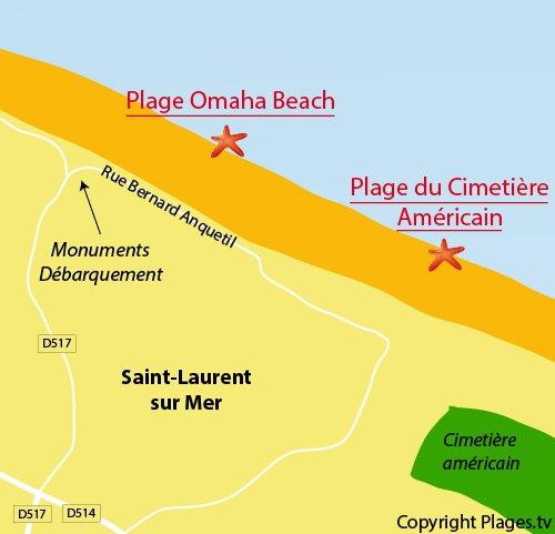 Carte de la plage Omaha-Beach à St Laurent sur Mer