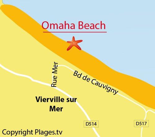 Map of Omaha Beach West in Vierville sur Mer