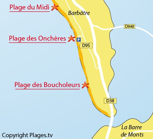 Map of Oncheres Beach in Noirmoutier