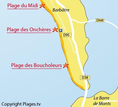 Carte de la plage des Onchères à Noirmoutier