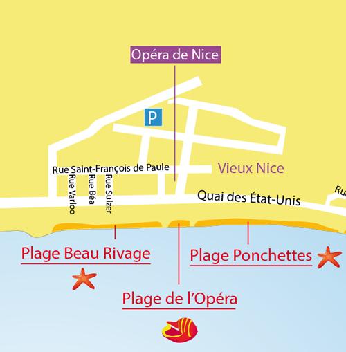 Carte de la plage de l'Opéra à Nice