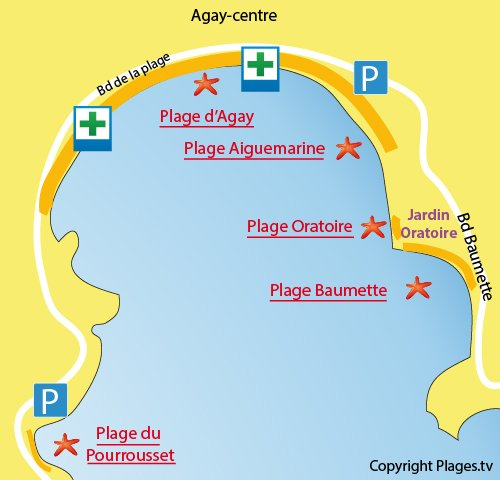 Map of Oratoire Beach in Agay