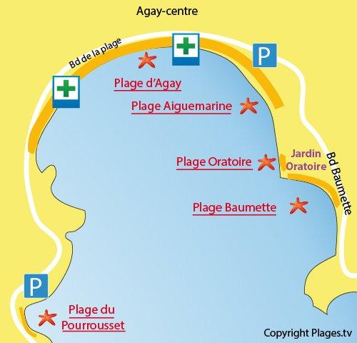 Plan de la plage de l'Oratoire à Agay