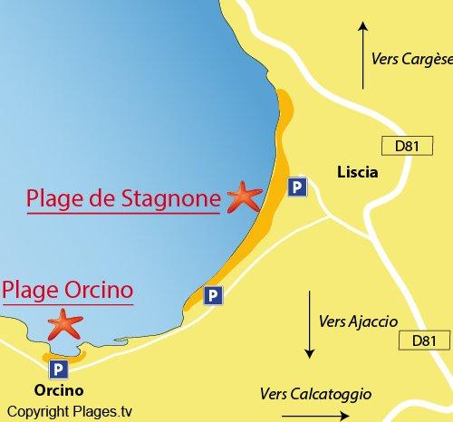 Plan de la plage d'Orcino en Corse