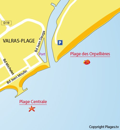 Carte de la plage des Orpellières à Valras