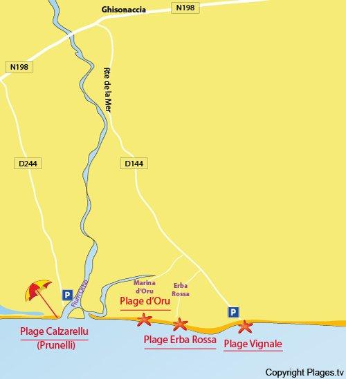 Plan de la plage d'Oru à Ghisonaccia en Corse