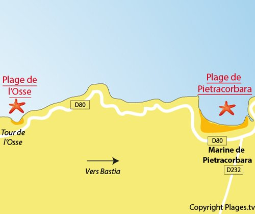 Osse beach in Pietracorbara in Corsica