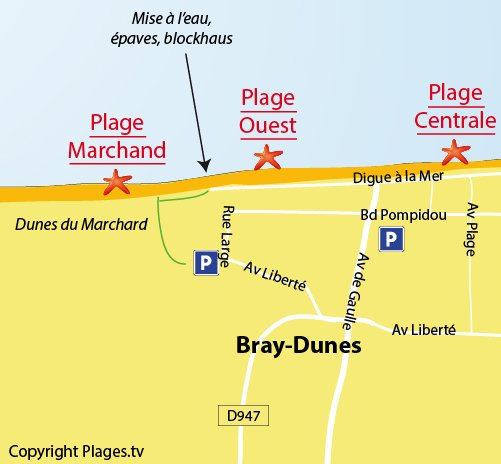 Map of the West Beach in Bray Dunes