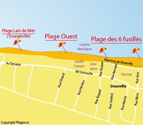 Map of the West Beach in Deauville in Normandy