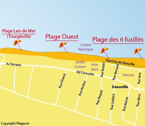 Carte de la plage ouest de Deauville
