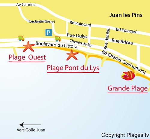 Carte de la plage Ouest à Juan les Pins