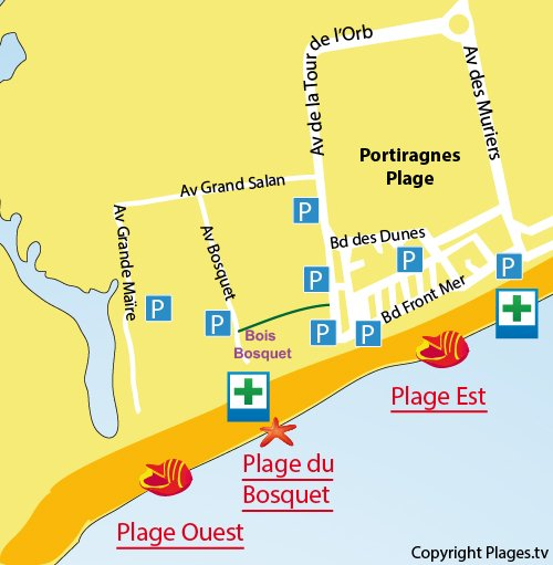 Plan de la plage Ouest à Portiragnes dans l'Hérault