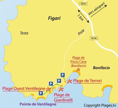 Carte de la plage Ouest de Ventilegne - Figari