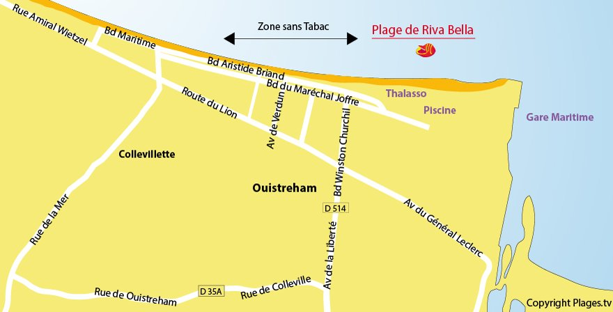 Carte de la plage d'Ouistreham en Normandie
