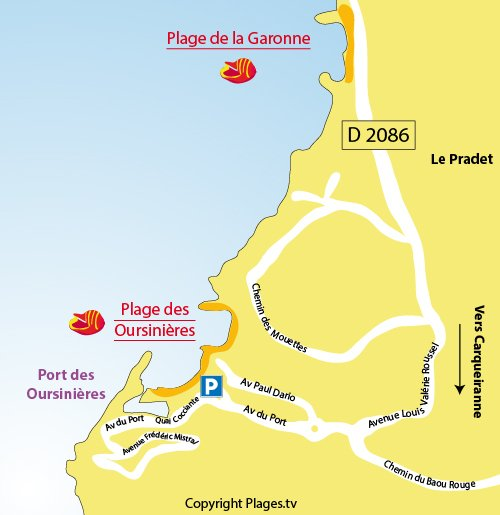 Map of Oursinieres Beach in Le Pradet