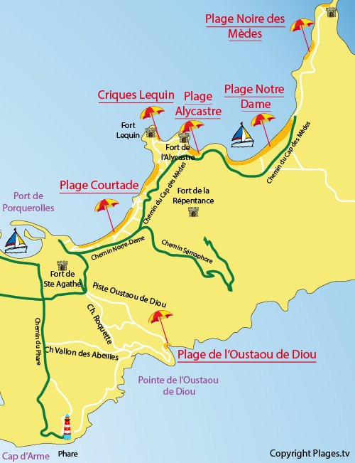 Mappa della Calanque l'Oustaou de Diou a Porquerolles