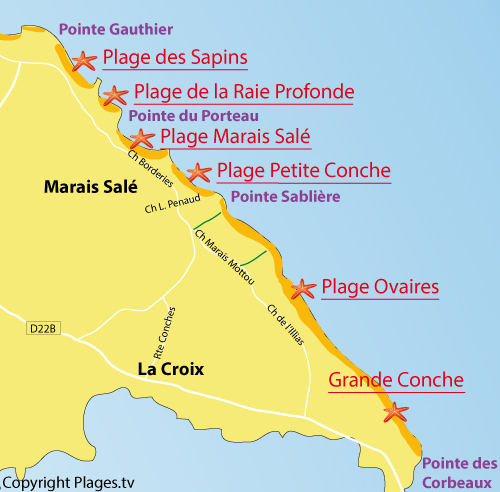 Map of Ovaires in Ile d'Yeu