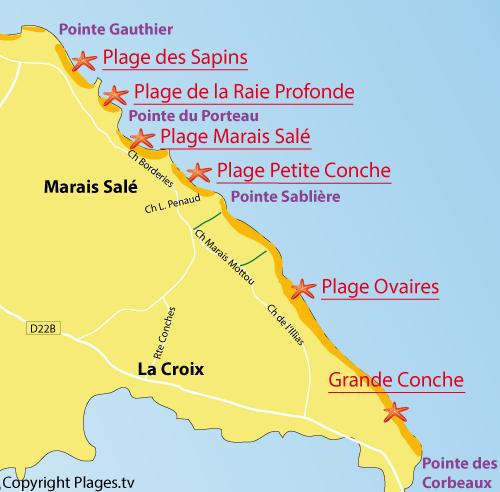 Carte de la plage des Ovaires sur l'ile d'Yeu