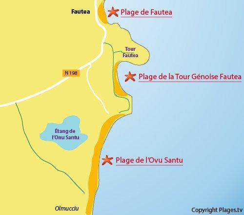 Plan de la plage de Ovu Santu de Ste Lucie de Porto Vecchio