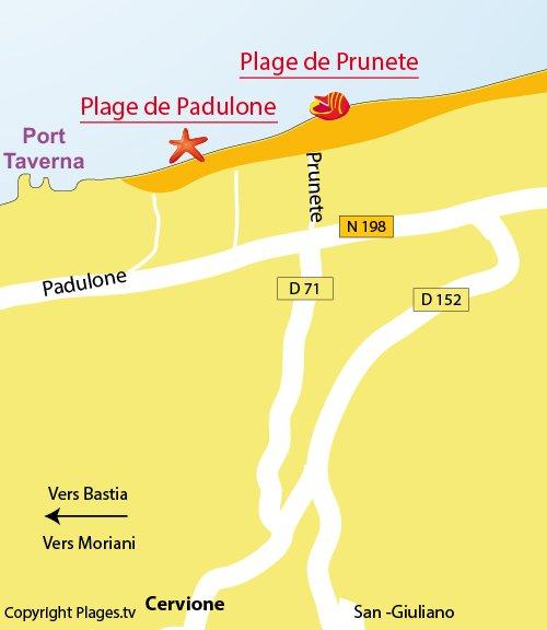 Map of Padulone beach in Cervione