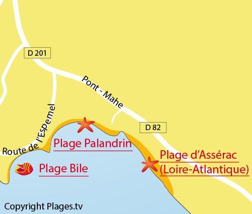 Carte de la plage de Palandrin à Pénestin