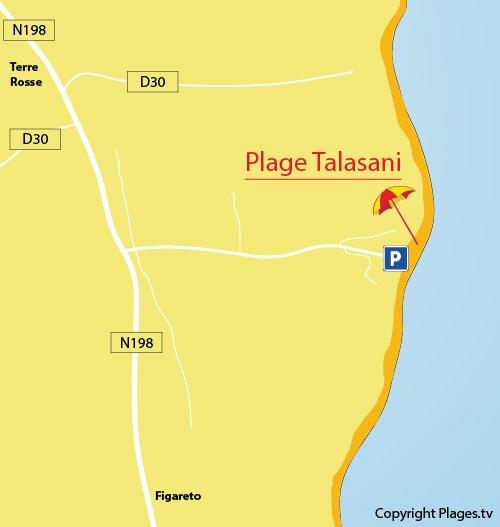 Plan de la plage de Talasani en Corse