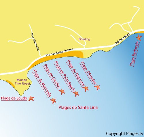Plan de la plage Palm Beach à Ajaccio