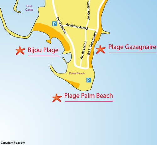 Map of Palm Beach in Cannes