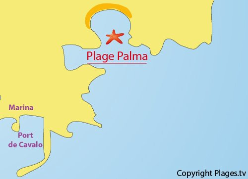 Carte de la plage de Palma - Ile de Cavallo - Lavezzi