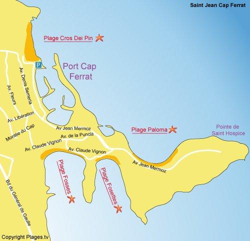 Carte de la plage de Paloma au Cap Ferrat
