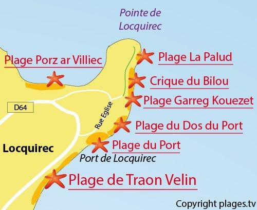 Carte de la plage de La Palud à Locquirec