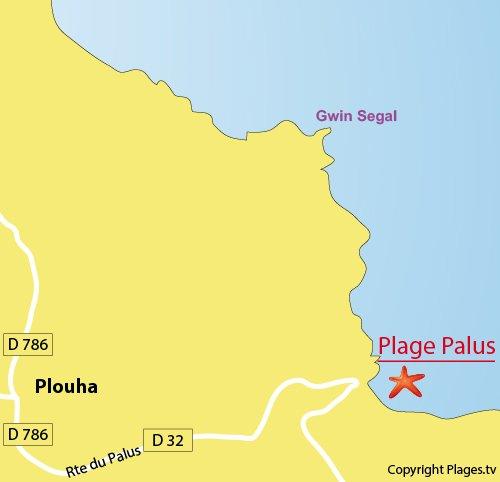 Plan de la plage du Palus à Plouha