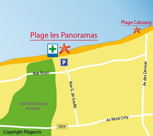 Map of Panoramas beach in Varaville