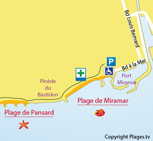 Map of Pansard Beach in La Londe les Maures
