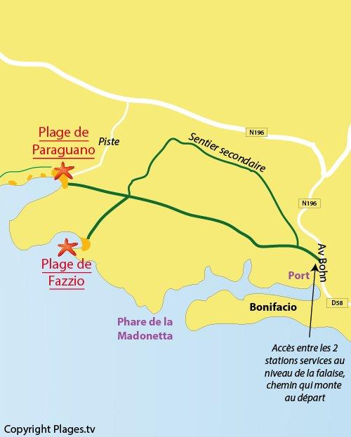 Carte de la plage de Paraguano à Bonifacio