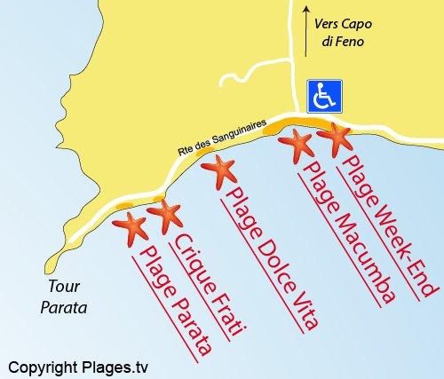 Carte de la plage de la Parata à Ajaccio