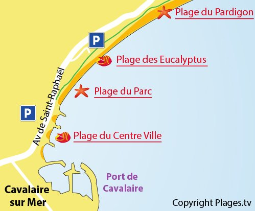 Map of Parc Beach in Cavalaire sur Mer