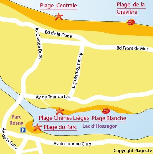 Map of Park Beach in Hossegor