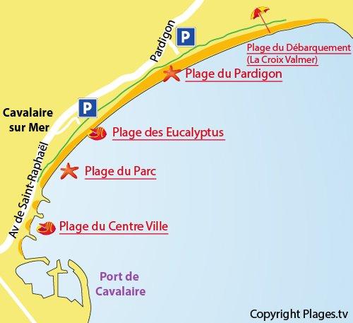 Plan de la plage de Pardigon à Cavalaire sur Mer - Var