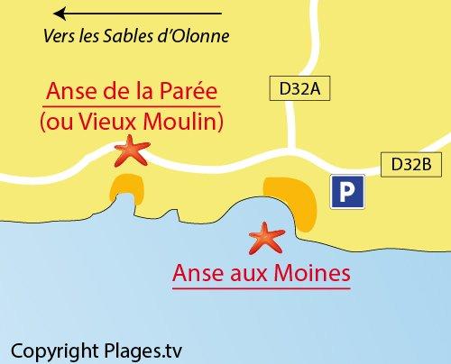 Map of Vieux Moulin Beach in Château d'Olonne