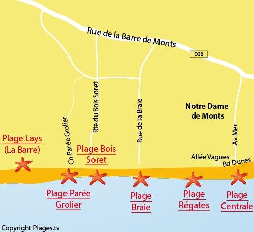 Carte de la plage de Parée Grolier à Notre Dame de Monts