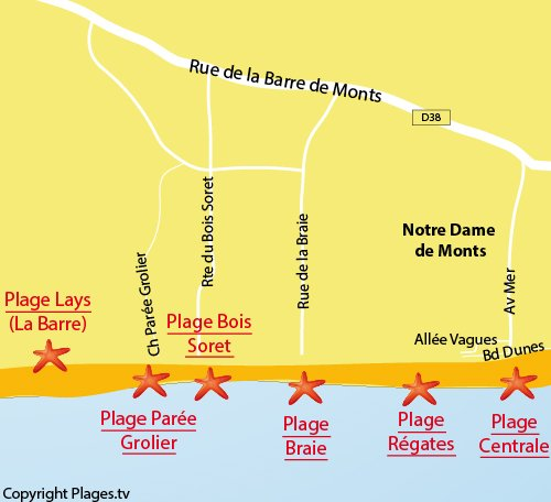 Mappa della Spiaggia di Parée Grollier a Notre Dame de Monts