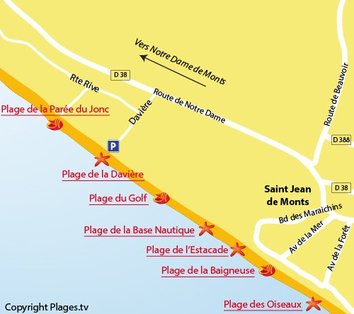 Map of Parée du Jonc Beach in St Jean de Monts